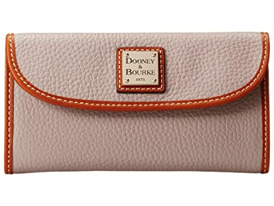Dooney & Bourke Pebble Leather New SLGS Continental Clutch (Oyster w/ Tan Trim) Clutch Handbags