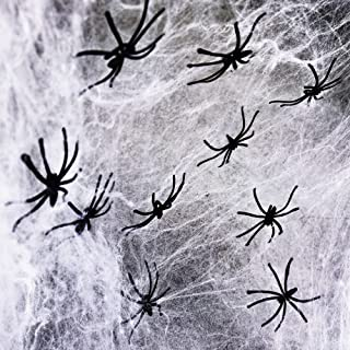Halcyerdu Halloween Spinnenweb, Halloween Spinnenweb Decoratie, met 300g Wit Spinnenweb en 40 Zwarte Horror Spinnen, Voor ...
