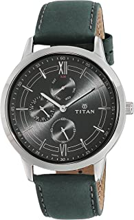 Titan Men's Multifunction Work Wear, Luxury, Causal Silver, Leather Analog Watch