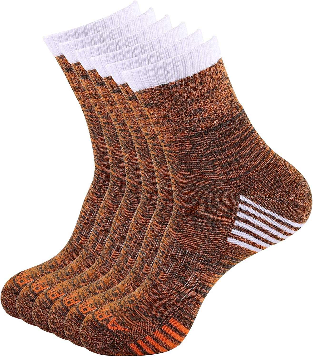 APPRO Hiking Walking Socks Outdoor Recreation Wicking Cushion Crew Socks for Men Size 8-11,Pack of 6