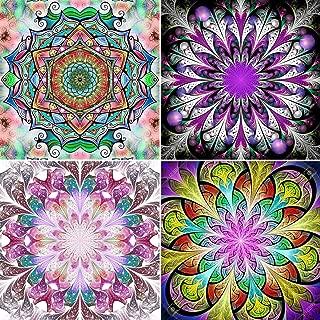 4 Pack 5D Full Drill Mandala Diamond Painting Kit, UNIME DIY Diamond Rhinestone Painting Kits for Adults and Beginner Diamond Arts Craft, 9.8 X 9.8 Inch (Colorful Mandala Diamond Paintings)