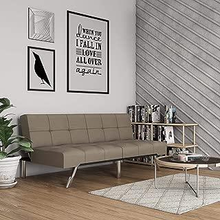 Novogratz Simon Futon Sofa Bed with Chrome Slanted Legs, Mid-Century Modern Design, Rich Tan Linen
