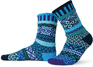 Solmate Socks - Mismatched Crew Socks; Made in USA; Water Large