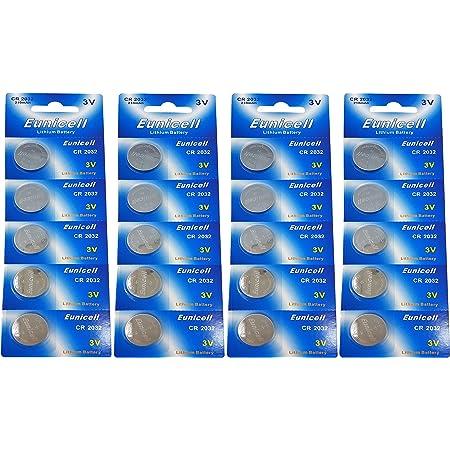 Eunicell 20 x CR2032 3V Lithium Knopfzelle 210 mAh (4 Blistercards a 5 Batterien) EINWEG Markenware