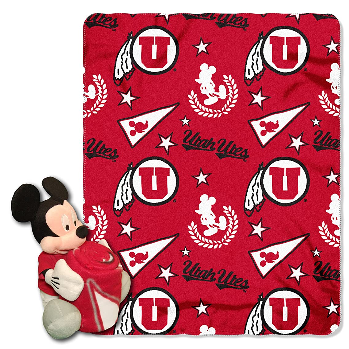 Utah OFFICIAL Collegiate & Disney Cobranded, Mickey Mouse Hugger Character Shaped Pillow and 40x 50 Fleece Throw Set