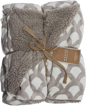 ReLive Reversible 50x60 Inch Soft Velvet Luxury Berber Throw Blanket (Greystone Scales)