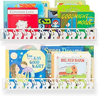 Wallniture Elephant Figure Nursery and Kids Room Shelves, Wall Mounted Floating Bookshelves and Picture Ledges Metal White 17 Inches Set of 2