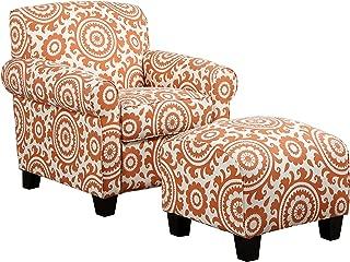 Handy Living Winnetka Chair & Ottoman in Orange Medallion