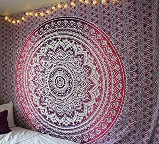 Jaipur Handloom Ombre Tapestry Trippy Mandala Tapestry Wall Hanging Hippie Wall Tapestries Dorm Decor Ombre Bedding Bohemian Bedspread Bed Cover Bedding Beach Throw (54 X 60 inches, Pink)