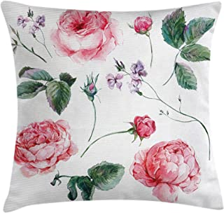 Ambesonne Flower Decor Throw Pillow Cushion Cover, Shabby Chic Vintage Watercolor Roses Branches Wildflowers Hand Print Image, Decorative Square Accent Pillow Case, 24 X 24 Inches, Pink and Green