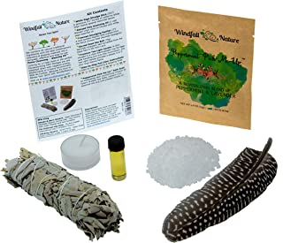 Home Cleansing & Blessing Kit -:- Includes Fresh California White Sage Smudge Stick + Smudging Feather + Blessed Anointing Oil + Tea Light Candle + Coarse Grain Sea Salt