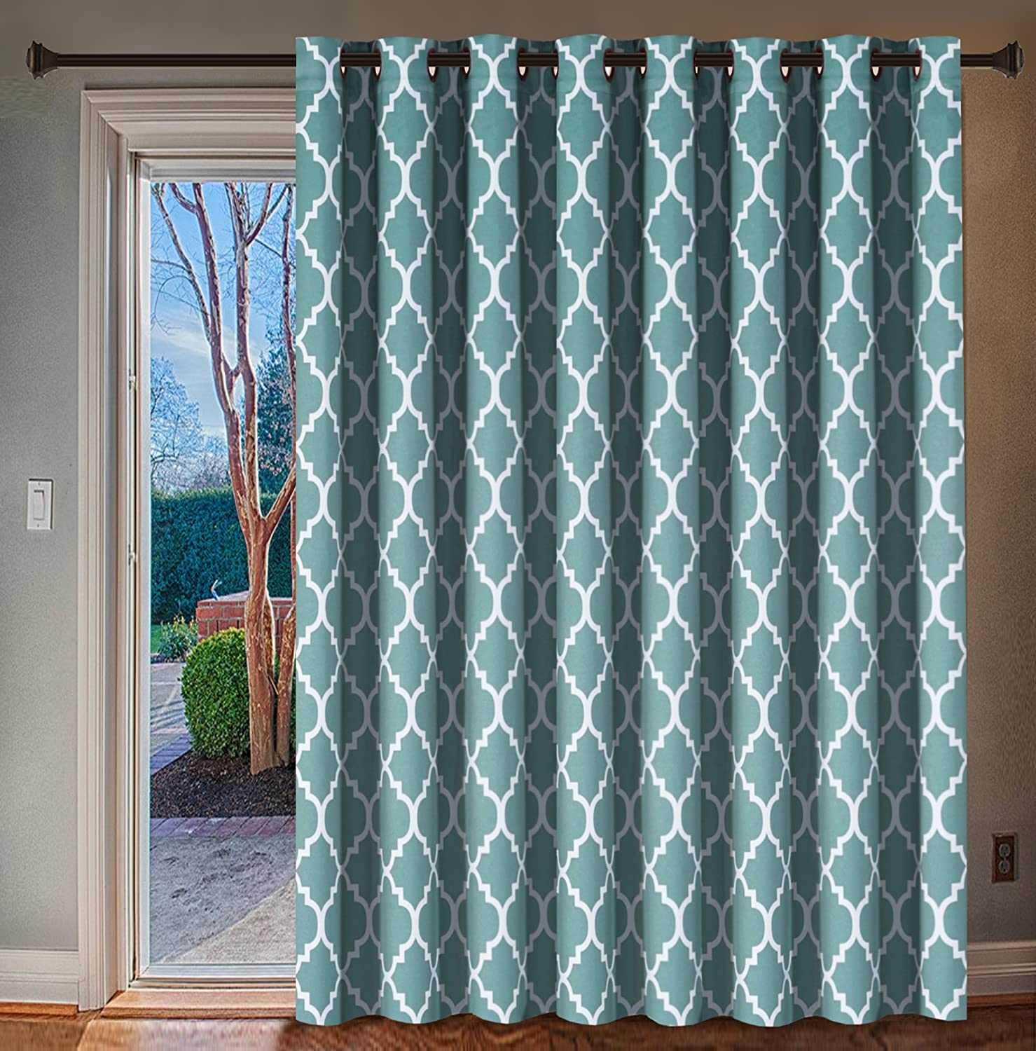 H.VERSAILTEX Energy Efficient Printed Blackout Curtain, Extra Wide Thermal Insulated Patio Panel - Grommet Large Size 100  W by 96  L Window Drapes - Smoke bluee, 1 Panel