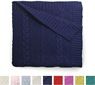 Cute New York Preium 100% Cotton Cable Knit Toddler Blankets Receiving Blanket, Baby Nursery & Stroller Blanket for Boys and Girls 30