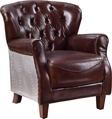 Benjara Faux Leather Upholstered Wooden Accent Chair with Tufted Back, Brown
