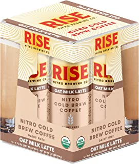RISE Brewing Co. | Oat Milk Nitro Cold Brew Latte (4 7 fl. oz. Cans) - USDA Organic, Non-GMO | No Sugar Added & Vegan | Draft Nitrogen Pour, Clean Energy, Low Acidity & Refreshingly Smooth