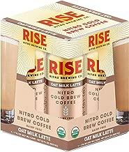 RISE Brewing Co.   Oat Milk Nitro Cold Brew Latte (4 7 fl. oz. Cans) - USDA Organic, Non-GMO   No Sugar Added & Vegan   Draft Nitrogen Pour, Clean Energy, Low Acidity & Refreshingly Smooth