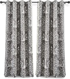 DriftAway Anna Window Curtains 100 Percent Cotton Tree Branches Botanical Print 2 Grommet Panels Each 52 Inch by 63 Inch Gray