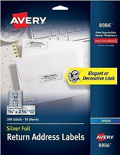 Avery Silver Address Labels for Inkjet Printers, 3/4