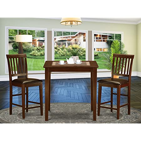 Amazon Com 3 Pc Counter Height Dining Set Pub Table And 2 Stools Table Chair Sets