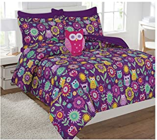 Fancy Collection 6pc Kids/teens Owl Flowers Design Luxury Bed-in-a-bag Comforter Set- Furry Buddy Included - Twin Size