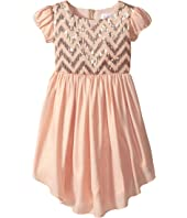 Us Angels Puff Sleeve Empire Dress w/ V-Hemline (Toddler/Little Kids)