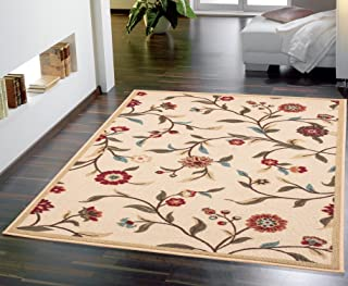 Ottomanson Otto Home Collection Floral Garden Design Modern Area Rug with Non-Skid (Non-Slip) Rubber Backing, 60