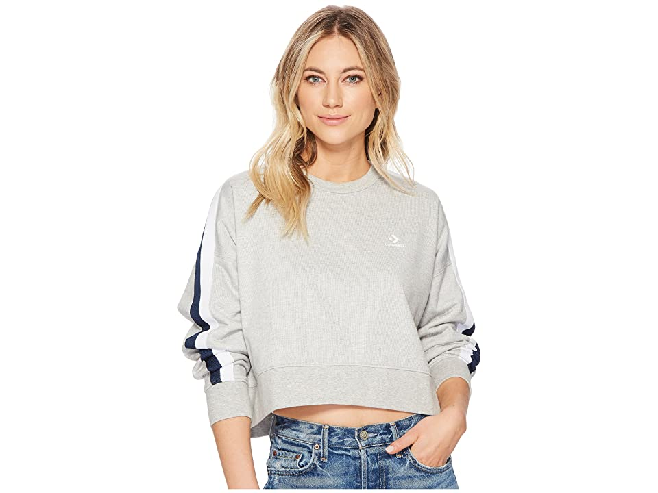 Converse Star Chevron Track Cropped Crew (Vintage Grey Heather) Women