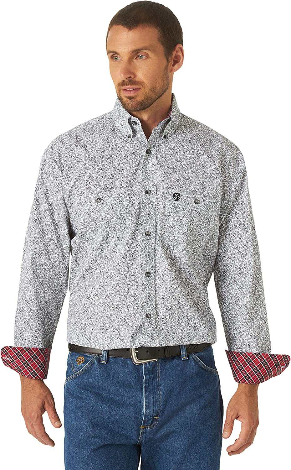 Wrangler Men's George Strait by Small Paisley Print Long Sleeve Western Shirt Red X-Large Tall