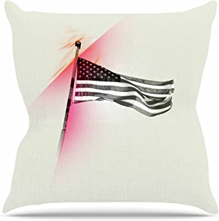 """KESS InHouse LT1019AOP03 18 x 18-Inch """"Just L Capture The Flag Red Black"""" Outdoor Throw Cushion - Multi-Colour"""