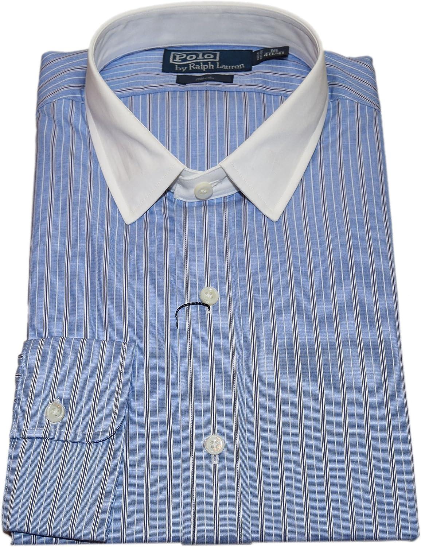 Ralph Lauren Polo Mens Rhodes Contrast Dress Shirt Stripe Navy Blue 16/40-41