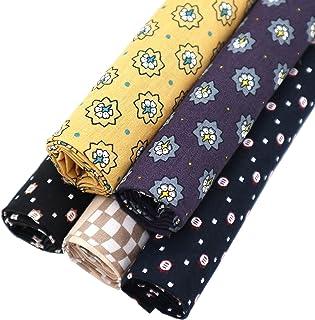 "ZAIONE 5pcs/Set Men's Style Floral & Square Checks Pattern Print 100% Cotton Poplin Fabric 18"" x 22"" Masculine Quilting Fa..."