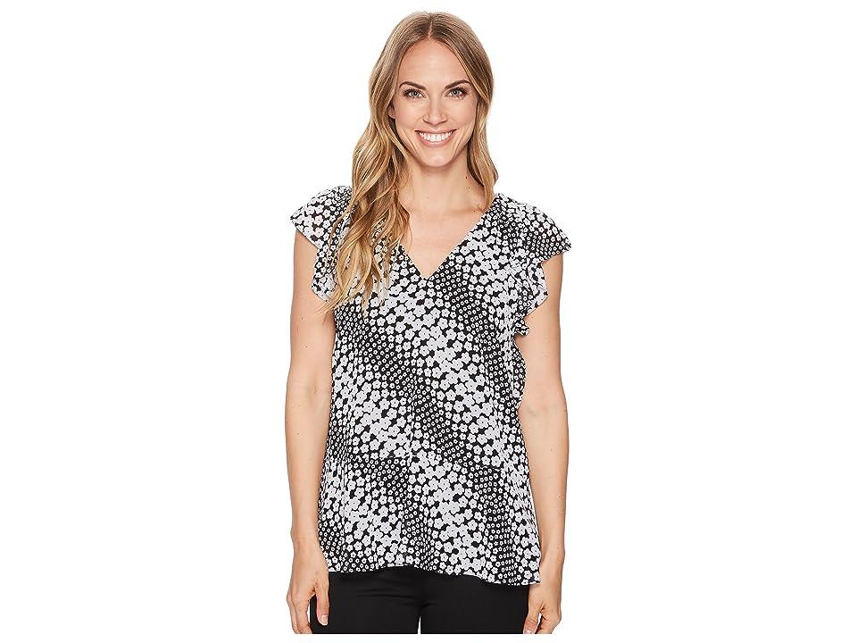 MICHAEL Michael Kors Bias Flower Striped Top (Black/White) Women's Clothing