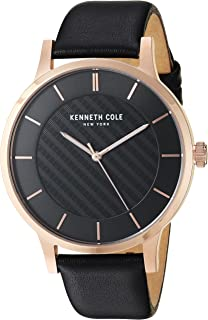 Kenneth Cole New York Men's Analog Quratz Stainless Steel and Genuine Leather Strap Casual Watch (KC50195004/03/02/05/01)