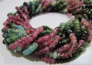 Top and Best Quality Multi Tourmaline Beads / Rondelle Faceted Exclusive Tourmaline Beads/ 4-5mm Size Beads/ Strand 16