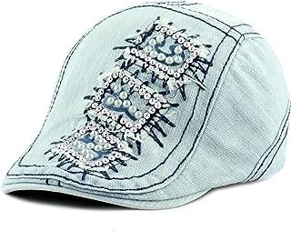 THE HAT DEPOT Denim NYC Beaded Bling Washed Rhinestone Studded Ivy hat