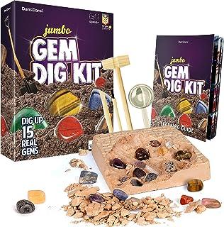 Dan & Darci Mega Gem Dig Kit - Dig up 15 Real Gemstones | Great Science, Gemology, Mining Gift Kids, Boys Girls | Rocks, M...