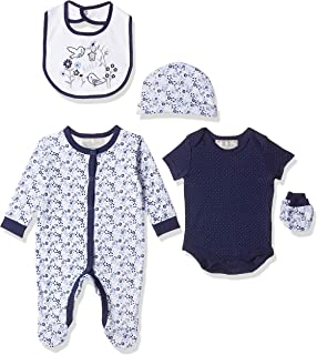 Rock-A-Bye Baby Navy Bird Garden Clothes for Baby Girls, 0-3 Months - Blue (Navy ), Pack of 5