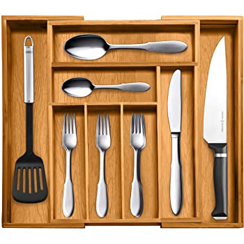 Top Rated Bellemain 100% Pure Bamboo Expandable, Utensil - Cutlery and Utility Drawer Organizer-2 Year Warranty (8 slot)