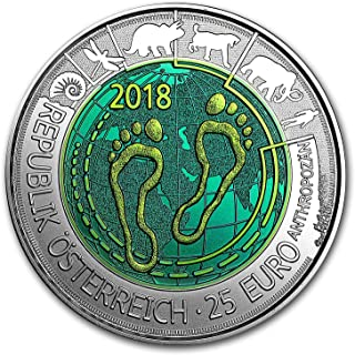 2018 AT Austria Silver/Niobium Anthropocene ?25 BU Silver Brilliant Uncirculated