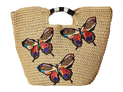 Bsb1728 Paper Tote With Butterfly Embroidery, Natural