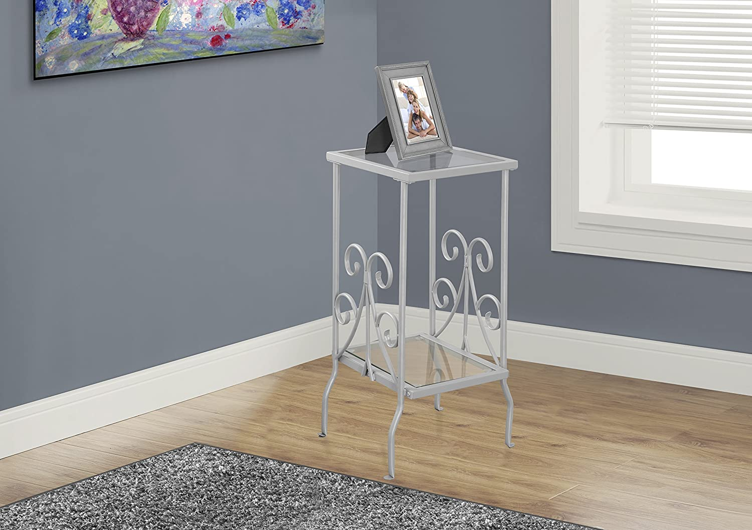 Monarch Specialties I 3158 Metal Accent Table with Tempered Glass, Silver, 30