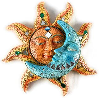 Sun And Blue Moon 3D Mosaic Celestial Face Decor Indoor Outdoor Wall Art Plaque Sculpture Mount For Inside Home Living Roo...