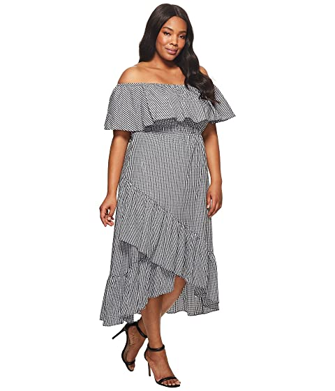 KARI LYN Plus Size Ann Off the Shoulder Gingham Dress Black/White With Paypal Low Price Free Shipping Manchester Great Sale Clearance For Sale KnBXl0EwRT