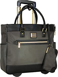 Kenneth Cole Reaction Runway Call Nylon-Twill Laptop & Tablet Business Travel, Olive Wheeled Tote