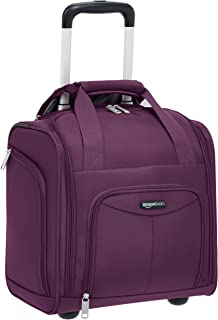 AmazonBasics Underseat Carry-On Rolling Travel Luggage Bag, 14-Inches - Purple