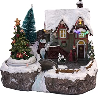 LED Lighted Snowy Christmas Village Animated Winter House Scenes (Spinning Tree)