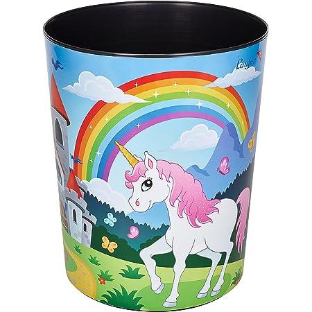 Papelera estampada, 13litros, cubo de basura, perfecta para el dormitorio infantil, redonda, plástico resistente, color unicornio