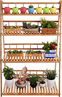 Plant Flower Stand Plant Display Shelf Rack Shelf Bamboo Foldable Pot Racks Planter Storage Rack Display Shelving Unit