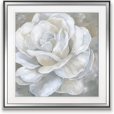 Renditions Gallery Bombshell Bloom Ii White Flowers Art Framed Contemporary Artwork Giclee Canvas Prints Home Wall Decor Painting 38 X 38 Silver Posters Prints