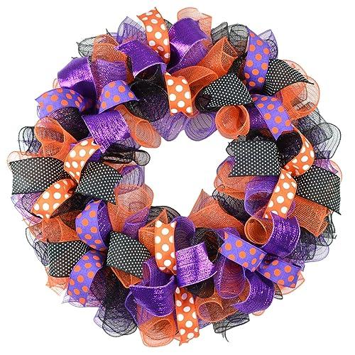 Amazon.com: Halloween Wreath   Purple Orange Black Deco Mesh Outdoor Front  Door Wreath Polka Dot : Handmade Products